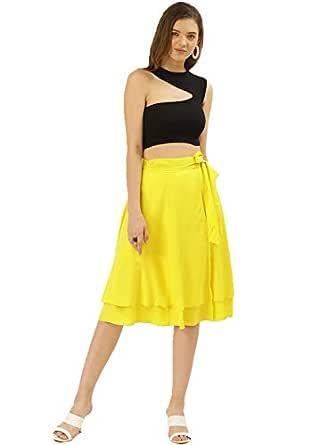 BESIVA Women's Yellow Wrap Skirt