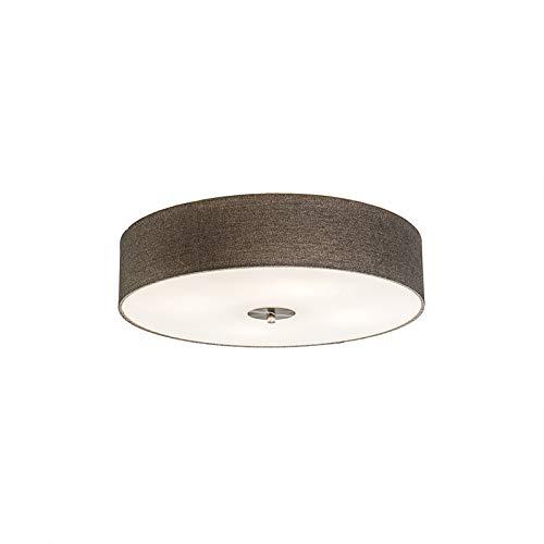 QAZQA Landhaus/Vintage / Rustikal/Modern / Deckenleuchte/Deckenlampe / Lampe/Leuchte Drum mit Schirm 50 Jute taupe/ 4-flammig/Innenbeleuchtung / Wohnzimmer/Schlafzimmer / Küche Glas/Meta