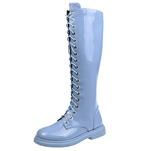 LILIHOT Damen Stiefel Frauen Side Zip Stiefeletten Motorrad Knie Nackte Stiefel Casual Long Tube Booties Overknee Stiefel Schuhe Lace-Up Beiläufig Winterstiefel Frühling Herbst Boots -