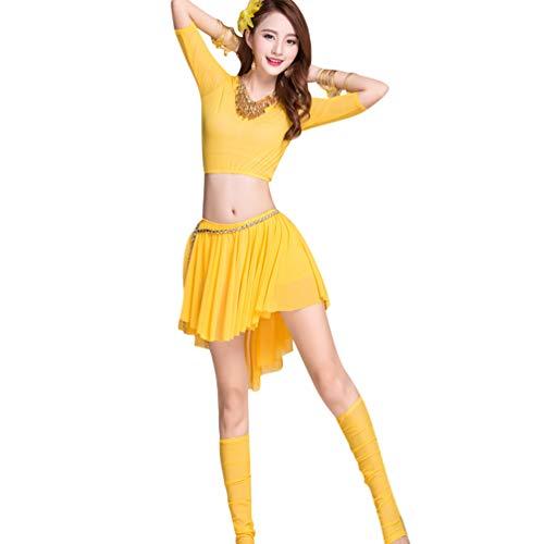 big Unregelmäßig Tanzkostüm Set Kurzarm Top Chiffon Kurzer Rock für Tänzer (Gelb#3, One Size) ()