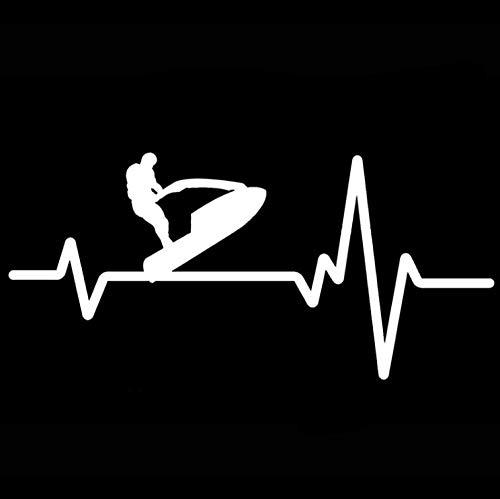Auto autoaufkleber aufkleber 16,5 CM * 8,1 CM Jet-Ski Stand-up-Wasserfahrzeug Heartbeat Line Vinyl 1 Stück -