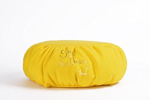 Deluxe Meditations-Kissen, maschinenwaschbar, sehr leicht, sehr bequem, unterstützt Haltung, gelb, 35 x 35 x 15 cm -