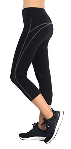 Neonysweets Womens Capri Running Yoga Pants Active Workout Leggings Black/Gray M