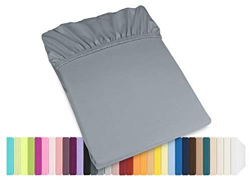 Schlafgut Mako Jersey Spannbetttuch 15001 oder  Kissenbezug 15101 - Baumwolle 406.463, graphit, Spannbetttuch 90-100 x 200 cm