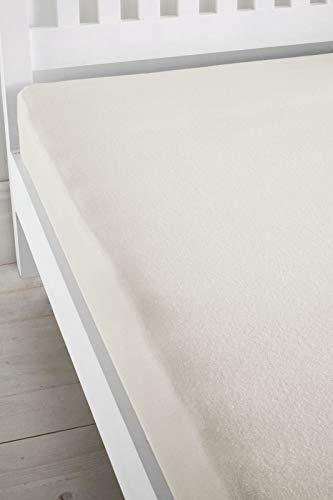 Catherine lansfield cl home - lenzuolo matrimoniale con angoli elasticizzati per letto super matrimoniale, 145 g/mq, tinta unita, colore: panna