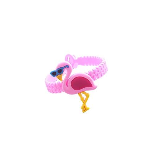 Kacniohen Flamingo-Silikon-Armband Mermaid Geburtstagsfeierbevorzugungen Armbänder Für Kinder Regenbogen-Armbänder (Rosa Mit Sonnenbrille)