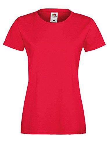 Fruit Of The Loom SS705 Lady Sofspun Fit T-Shirt en coton toucher doux Rouge - Rouge