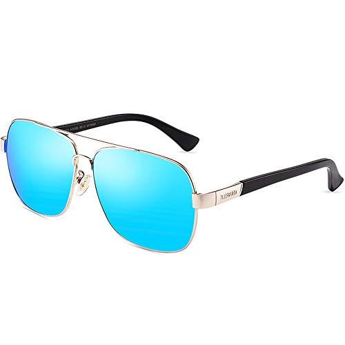 ZCF Sonnenbrillen Polarisierte Sonnenbrillen Männer Persönlichkeit Brille Fahrer Spiegel Männer Fahren Spiegel (Farbe : Silver Frame Ice Blue)