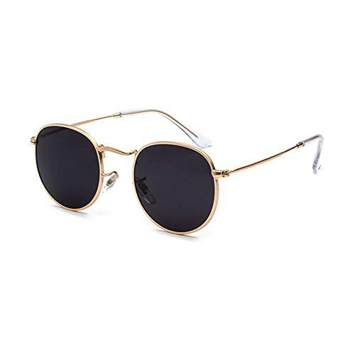 QDE Sonnenbrillen Klassische Klassische Sonnenbrille Der Steampunk-Männer Und Der Frauen Runder Schwarzer Rahmen des Retro- Rahmens Retro- Sonnenbrille Herrenbrille Uv400, Gold