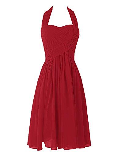 Dresstells, A-ligne robe mousseline de demoiselle d'honneur robe de soirée de cocktail longueur au genou Rouge Foncé