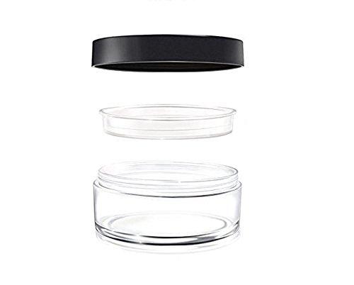 Tragbar Klar leer Foundation Make-up Powder Puff Box Case Container mit Puderquaste Mehlsieb und schwarz Schraube Deckel Loose Powder Jar Pot
