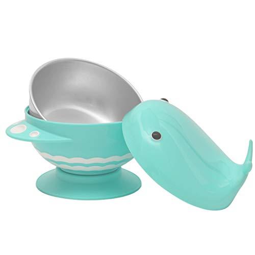 Love lamp Bébé Bol Anti-Chute pour Enfants Mangeant Un Bol D'entraînement avec Vaisselle pour Enfants À Ventouse (Color : Blue)