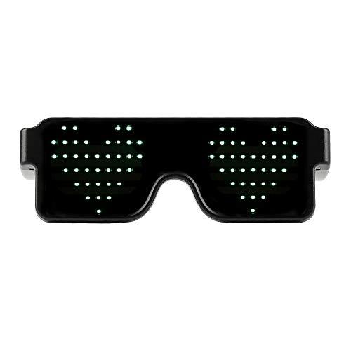 HONGFUTONG LED-Brille, 8 Modi Schnellblitz, EL-Draht, Wiederaufladbar für Raves, Festivals, Fun, Partys, Sport, Kostüme, EDM, Flashing - Display Messages, Animation, Zeichnungen