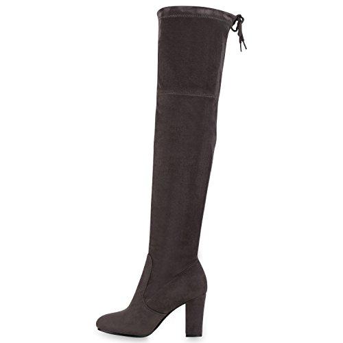 Overknees Damen Schleifen Langschaft Stiefel Lederoptik Grau Grau