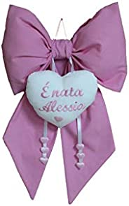Fiocco Nascita Con Nome Ricamato Personalizzato Neo Mamma rosa