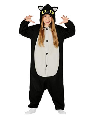 Horror-Shop Schwarze Katze Onesie mit Kapuze für Kinder als Pyjama Kostüm ()