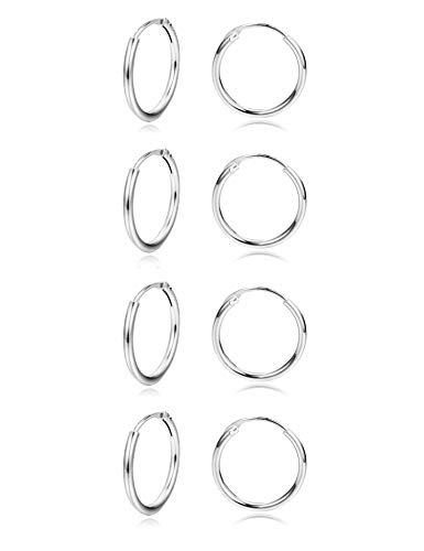 Sllaiss 4 Paia Mini Orecchini Cerchio 925 Argento per Donne Piccolo Rotondo Cerchio Infinito Orecchini Set 12mm Anallergica