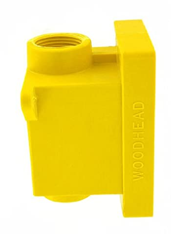 Leviton 454CR FD Box 2 KO Openings 1-Inch for Straight, Locking Receptacle, Wetguard IP66, Yellow