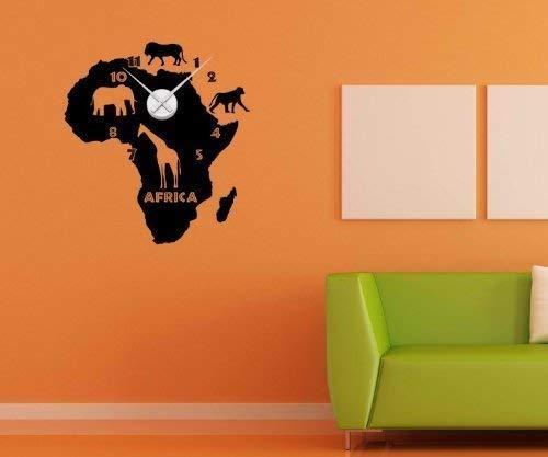 Wandtattoo Uhr Afrika Karte 55cmx60cm Tattoo Sticker Wanduhr Aufkleber 1X168, Farbe:Schwarz Matt;Farbe der Uhr:Farbe der Uhr Silber