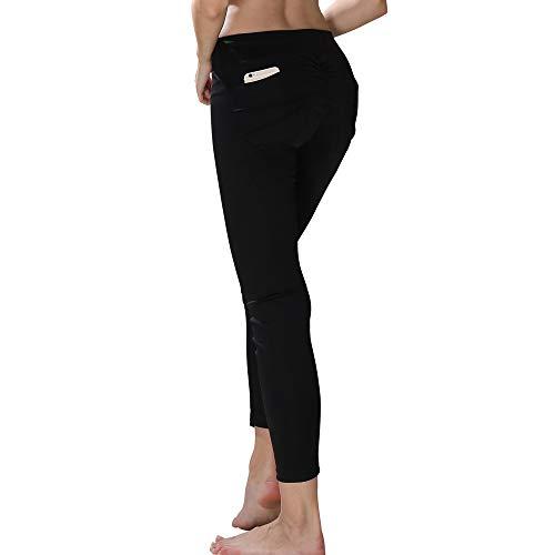 CAOQAO Pantaloni da Allenamento da Allenamento Sportivi da Allenamento da Donna a Vita Media con Fianchi Aderenti Aderenti Aderenti/Nero/S-XL/Palestra