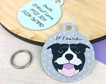 Personalised Staffordshire Bull Terrier Name ID Tag – Staffie Collar Tag – Staffie Dog Tag