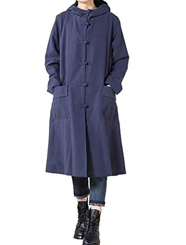 MatchLife Femme Capuche Bouton Grenouille Longue Manteau Style2 Bleu