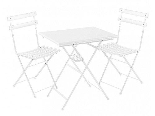 EMU Set Gartentisch Arc En Ciel Weiß Tisch 70x 50cm + 2Stühle