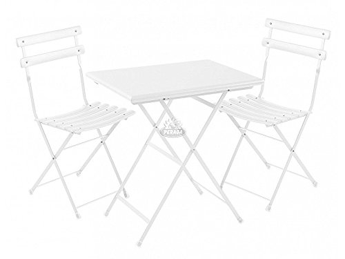 Set da Esterno Arc En Ciel Bianco Tavolo 70x50cm + 2 Sedie Emu