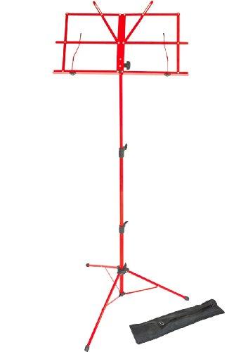 Lawrence lms02-rd - leggio pieghevole, regolabile, in metallo, con custodia, colore: rosso