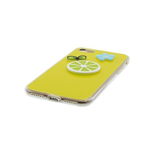 iPhone 6 Custodia, Silicone trasparente morbido Cover Shell Cute Semplice Progettato per iPhone 6s Copertura, | 3D Cartoon coniglio | iPhone 6S Case 4.7 giallo
