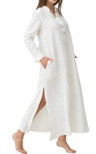 Minetom Femme Bohème Kaftan Robe Longue Maxi Lin Coton Col V Manches Longues Couleur Unie Lâche Rétro Tunique Dress Soirée Cocktail Blanc FR 42