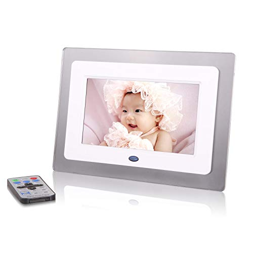 Digital Photo Frame,7 Zoll transparente Acryl-Elektronische Fotobilder, Digital Picture Frame mit Photo/Music/Video Player,White - Acryl Transparent Frame