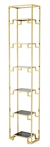 Casa-Padrino Armario de estantería Dorado/Negro 45,5 x 25,5 x H. 221 cm - Mueble de Sala de Estar de Lujo