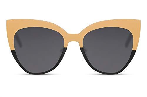 Cheapass Sonnenbrille Große Schwarze Metall Cateye Brille für Frauen 100% UV Schutz
