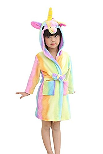 oamore Kinder Einhorn Bademantel Morgenmantel mit Kapuze Robe Nachtwäsche Schlafanzug Cosplay Kostüme Tier Ankleiden (Rainbow, 120cm) (Seasons Four Halloween-kostüme)