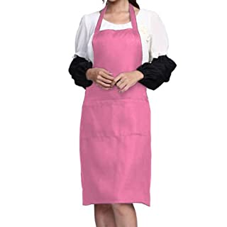 AFUT Bib Apron Waterdrop Resistant with 2 Pockets Cooking Kitchen Aprons for Women Men Chef