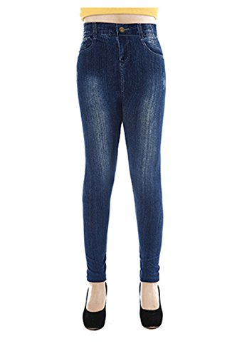 Denim de la femme imprimé Faux Jeans sans soudure pleine longueur Leggings blue