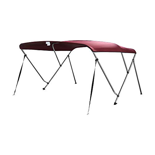 MiDMarine Premium Bimini Top Baldachin für Boote mit 3 Schleifen, mehrere Größen, passend für Boote mit 120 cm - 210 cm Breite erhältlich, burgunderfarben, 190-210cm Wide - Burgund-polyester-gewebe