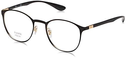 Ray-Ban Unisex-Erwachsene 0RX6355 Brillengestelle, Schwarz (Gold On Top Matte Black), 50