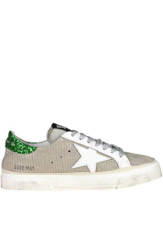 3649b4ed2888a GOLDEN GOOSE DELUXE BRAND May Reptile Print Leather Sneakers Woman  Dove-Grey 36 IT