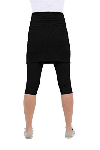 Be! Mama Umstandsleggings mit Rock, hochwertige Baumwolle, Modell PENTI - 3/4 oder lang, Umstandsrock Schwarz - 3/4