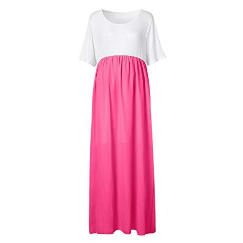 Amphia - Kleid mit Rundhalsausschnitt für Schwangere Frauen - Frauen Mutterschaft einfarbig runder Kragen Kleid Mutterschaft Sommerkleid Kleidung(Hot Pink,XXXXL)