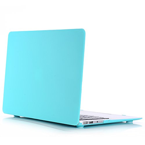3C-LIFE Macbook-compatible Case, Frosted Dull Polish Surface Colorful Slim Shockproof Scratchproof Hard Shell Cover Case for Macbook Air13 [Cyan]