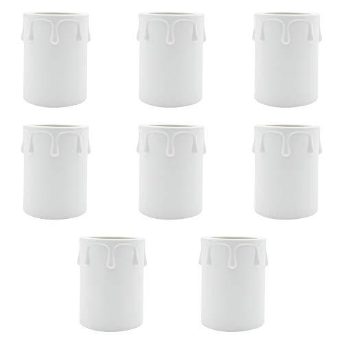 KingYH 8 Stück Kerzenhülse 60mm Kunststoff Kerzenhülse Lampenfassung für Kristall Kronleuchter Kerzen Kronleuchte Wandleuchte Hängelampe Lampenschirme-Weiß