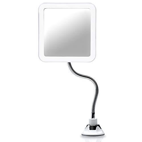 Fancii Espejo Maquillaje Flexible con Aumento de 10x, Luz LED Natural, Poderoso Ventosa, Rotación 360°...