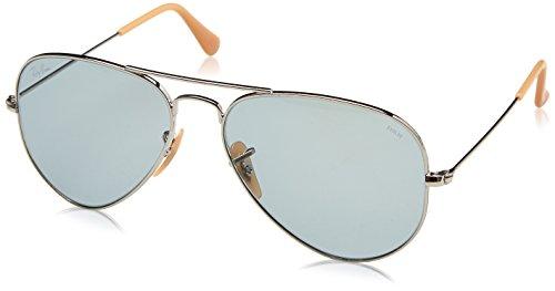 Ray-Ban RAYBAN Unisex-Erwachsene Sonnenbrille 0rb3025 9065i5 55 Silver/Photoblue