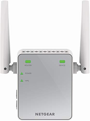 Netgear WLAN N300 EX2700-100PES WiFi-Signal-Verstärker & Booster (Abdeckung von 1 bis 2 Räumen & 10 Geräten, Geschwindigkeit bis zu 300 MBit/s, kompaktes Netzstecker-Design) weiß/grau