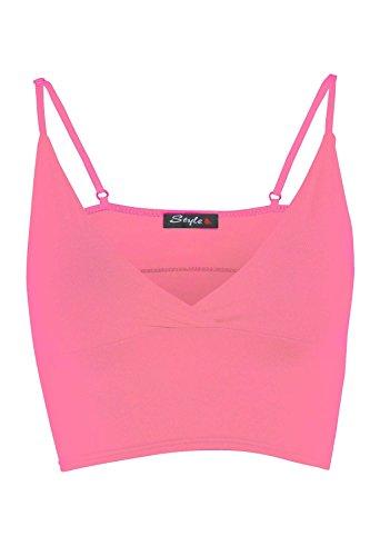 Les nouvelles femmes Bra Strap Tops Crop Bralet 36-42 Light Pink