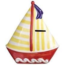 """Cerámica velero diseñado banco–banco de monedas, Hucha–rojo casco con amarillo rayas mástil 7de altura y 6.5""""de ancho, nuevo"""