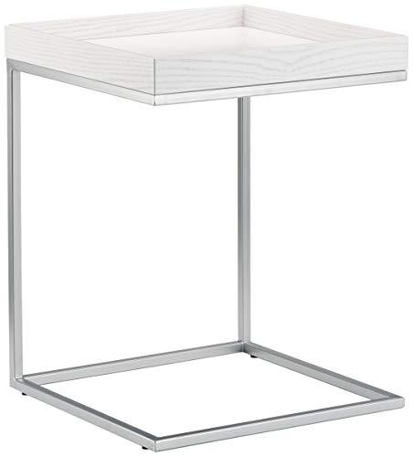 Jan Kurtz Beistelltisch, Eiche, weiß/lunarsilber, 40 x 40 x 52 cm